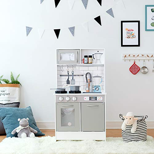 Teamson Kids-Cocinita de madera color gris